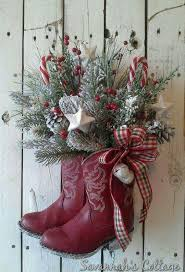 RESERVED SALE Christmas Arrangement, Cowboy boot, Holiday Floral, Door decor