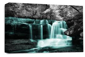 waterfall wall art teal grey white