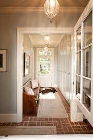 decorate narrow entryway hallway entrance. Brick-tile-flooring-red-county-farmhouse-entrance-inspiration- Decorate Narrow Entryway Hallway Entrance