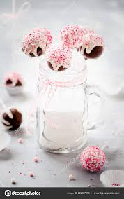 White Pink Cake Pops Mason Jar Stock Photo Locrifa 222927878