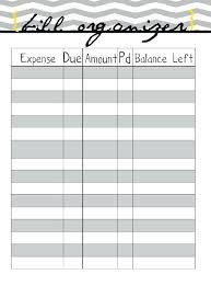 Printable Budget Worksheet Home Finance Bill Organizer Template