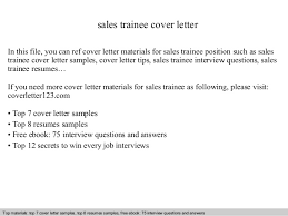 Trainee Cover Letters Sales Trainee Cover Letter