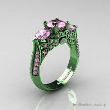 jewels pink sapphire green gold green ring gold enement ring clicenementring three stone rings sapphire ring