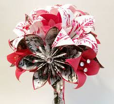 Paper Origami Flower Bouquet Comic Book And Lilies Paper Flower Bouquet Wedding Bouquet One Of