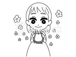 花かんむりを君に 線画イラスト No 1161444無料イラストなら