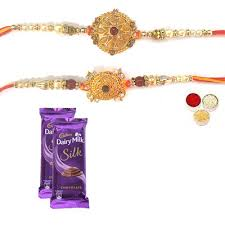 Set of 2 Designer Rakhi with Cadbury Silk Delivery In India Online