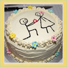 Simple Engagement Cake With Drawn Stick Figures Stock Photo Picture