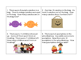 October Word Problems for 1st Grade (TASK CARDS)   Word problems ...
