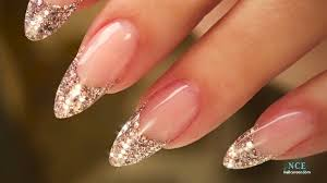 French Almond Glitter By Nail Career Education Nehty Nehty