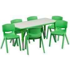 preschool table and chairs. Table And Chair Set Kids Activity Adjustable Stack-able Daycare Preschool Green Chairs N