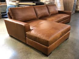 laf braxton leather sofa chaise sectional italian berkshire chestnut leather