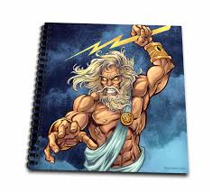 3drose zeus throwing a lightning bolt from a stormy sky drawing book 8 by 8 inch walmart