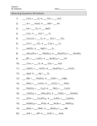 balancing chemical equations worksheets