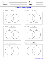 Venn Diagram And Set Notation Venn Diagram Worksheets Dynamically Created Venn Diagram