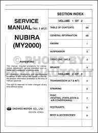 2000 daewoo nubira repair shop manual original 2 volume set table of contents page