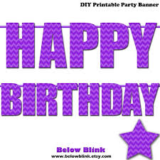 Purple Happy Birthday Banner Purple Happy Birthday Letter Banner Purple Chevron Photo Prop