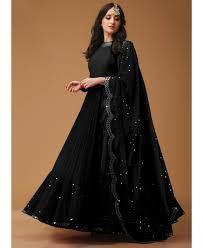 Designer Gown In Black Colour Buy Black Color 60gm Georgette Designer Gown