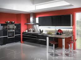 Classy Red Kitchen Ideas And Black Doff Cabinet Over Grey Glossy Chimney  Extractor Fan Ideas
