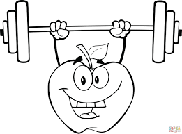 Small Picture Apple Cartoon Character Lifting Weights coloring page Free