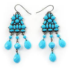 image is loading turquoise coloured plastic chandelier earrings