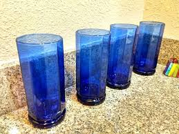 anchor hocking cobalt blue tall paneled water glasses set of 4 rare and beautiful sided glass cobalt blue goblets by glassware viking water