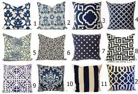 Outdoor Pillows or Indoor Custom Covers Shades of Navy Blue