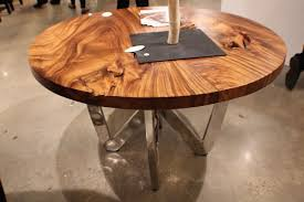 Round Wooden Dining Tables 55034 Spectacular Round Dining Table Chrome Steel Legs Natural