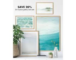 wall art sets turquoise blue art