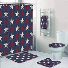 bathroom 5 piece set shower curtain 3d print primitive country decor symmetric stars united states independence freedom theme decorative dark blue ruby