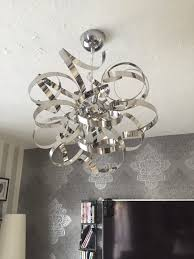 heka curled silver chrome effect 6 lamp pendant ceiling light