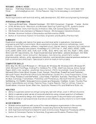 Technical Writer Resume Objective Examples Technical Cover Letter