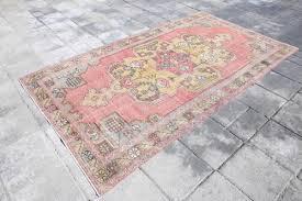 4 2x7 7feet oushak rug overdyed rug pink vintage rug