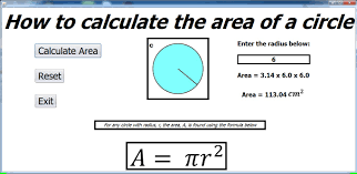 how to calculate the area of a circle in java netbeans
