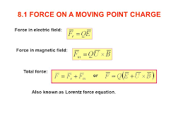 2 8 1 force on a moving point charge force in electric field force in magnetic field total force or also known as loz force equation