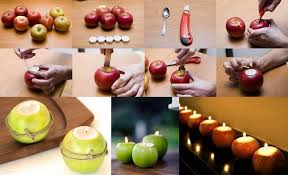 table decorating ideas candles apples autumn indoor outdoor atmosphere