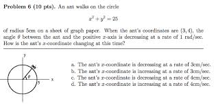 Solved Problem 6 10 Pts An Ant Walks On The Circle X2