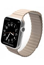 42mm apple watch beige replaceable genuine leather loop with strong magnetic lock watch strap