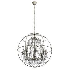 loft style 8 bulb pendant light in grey finish with rich crystal décor regenbogen co uk