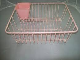 vintage pink kitchen sink dish drainer drying enamel wire rack
