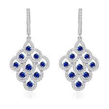 exquisite sterling silver sapphire blue cz chandelier earrings for popular residence cz chandelier earrings remodel