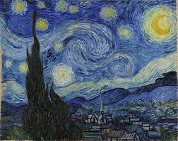 a painting of a scene at night with 11 swirly stars and a bright yellow crescent artist vincent van gogh