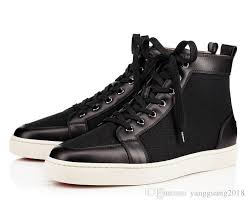 2018 new arrival famous brand mens women black leather canvas high top red bottom sneakers brand casual shoes 36 47 drop formal shoes for men work