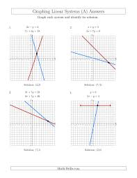 solve systems of linear equations by graphing standard a solving worksheet