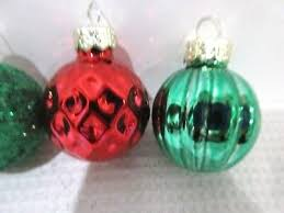 mini red green gold glass ball ornaments 1 5 set of
