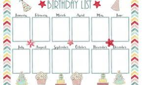 Birthday Chart Template For Classroom Luxury Birthday Calendar ...