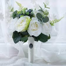 2018 Silk Rustic Wedding Bouquet Handmade Flowers White Peony With
