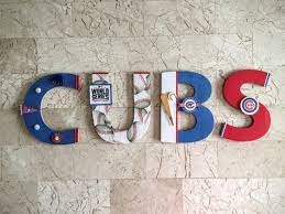chicago cubs baseball wall letters man