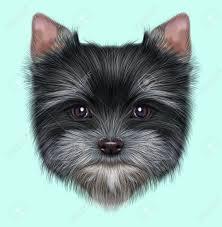 Geïllustreerd Portret Van Yorkshire Terrier Puppy Leuk Pluizig Grijs Gezicht Van Huishoudelijke Hond Op Blauwe Achtergrond