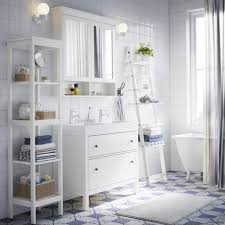 white bathroom mirror with shelf. a white bathroom with hemnes washstand, shelf, and mirror cabinet in plus shelf d