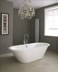 bathroom designs with freestanding tubs. Dark Gray Walls In Elegant Bathroom Design With Freestanding Tubs And Stainless Steel Faucet Also Unique Chandelier Designs O